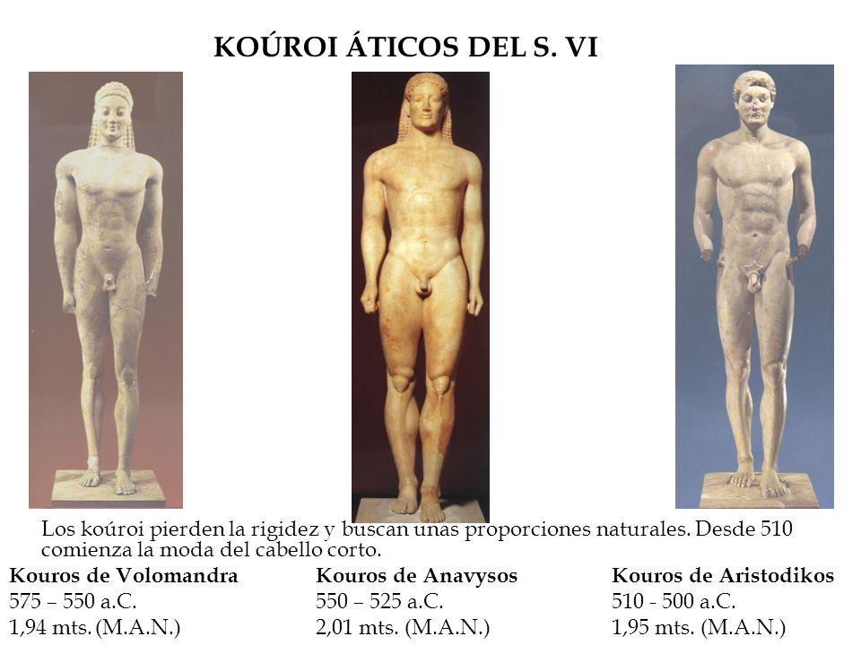 KOÚROI ÁTICOS DEL S. VI Los koúroi pierden la rigidez y buscan unas proporciones naturales. Desde 510 comienza la moda del cabello corto.