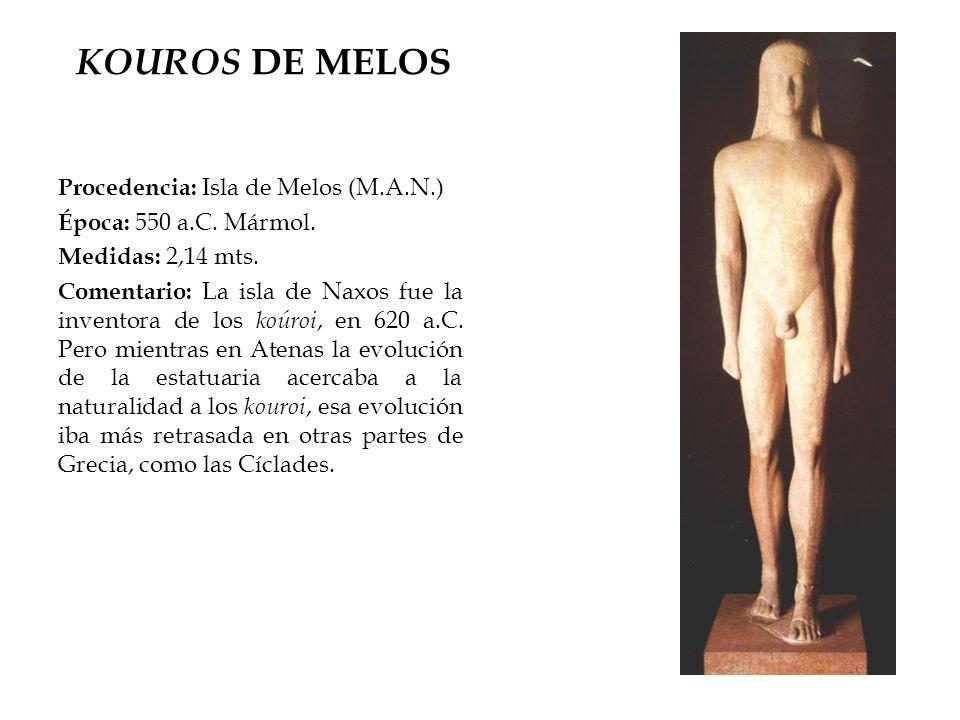 KOUROS DE MELOS Procedencia: Isla de Melos (M.A.N.)