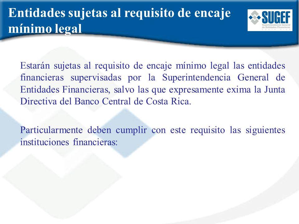 Entidades sujetas al requisito de encaje mínimo legal
