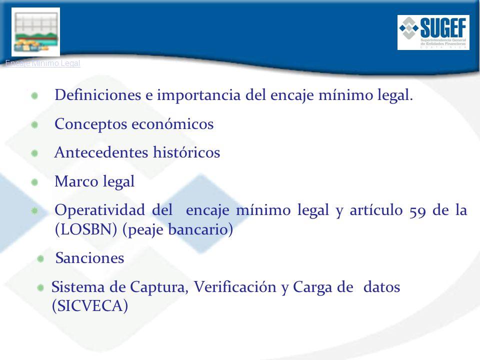 Definiciones e importancia del encaje mínimo legal.