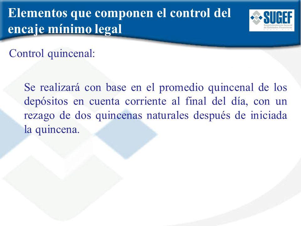 Elementos que componen el control del encaje mínimo legal