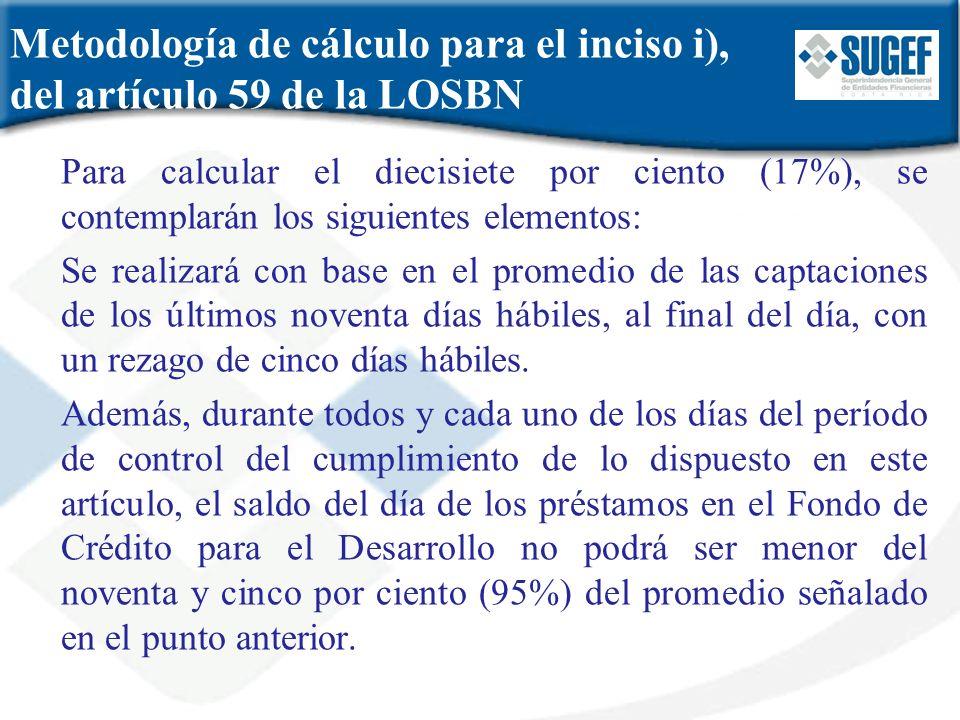 Metodología de cálculo para el inciso i), del artículo 59 de la LOSBN