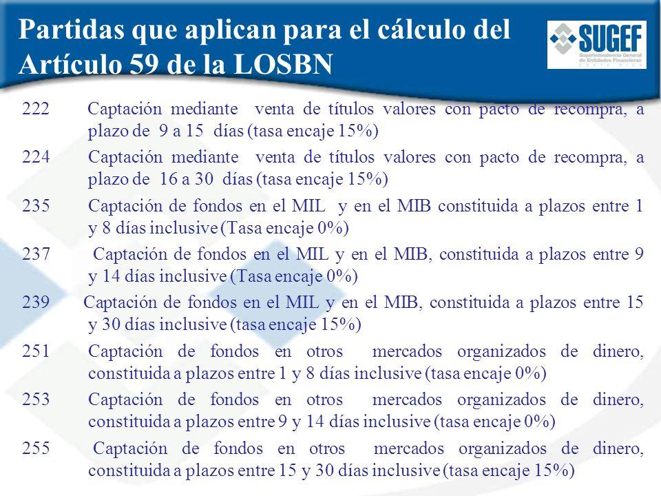 Partidas que aplican para el cálculo del Artículo 59 de la LOSBN