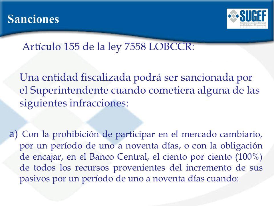 Sanciones Artículo 155 de la ley 7558 LOBCCR: