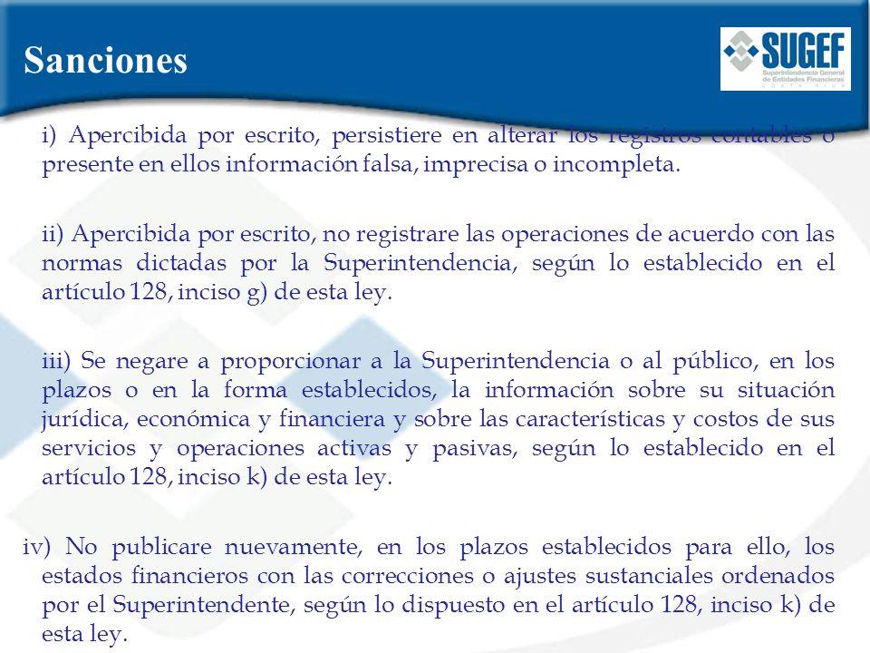 Sanciones i) Apercibida por escrito, persistiere en alterar los registros contables o presente en ellos información falsa, imprecisa o incompleta.