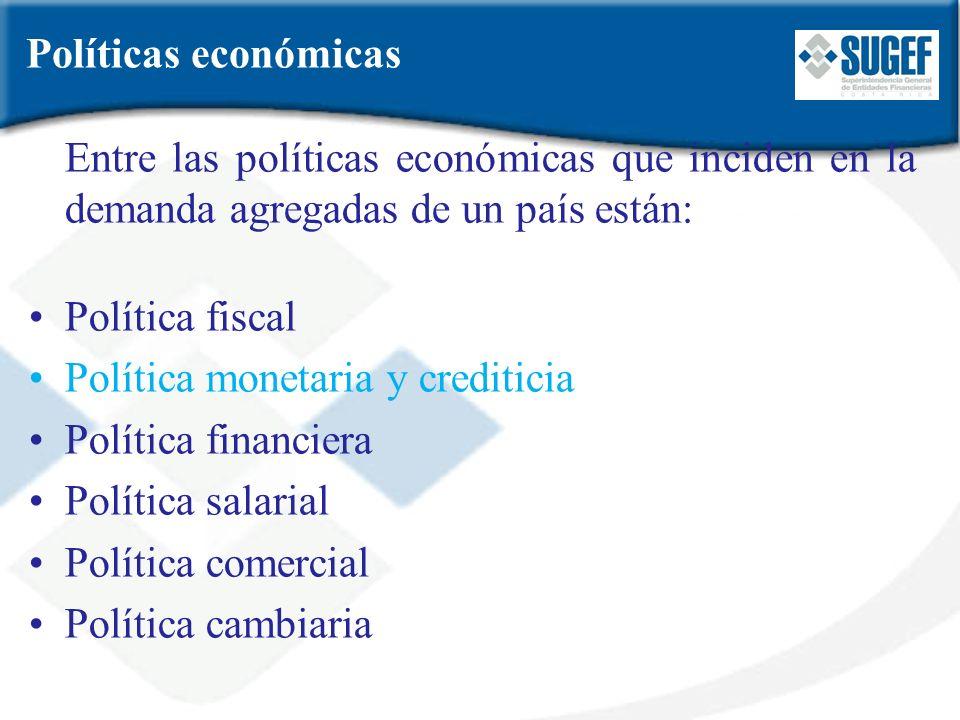 Políticas económicas Entre las políticas económicas que inciden en la demanda agregadas de un país están: