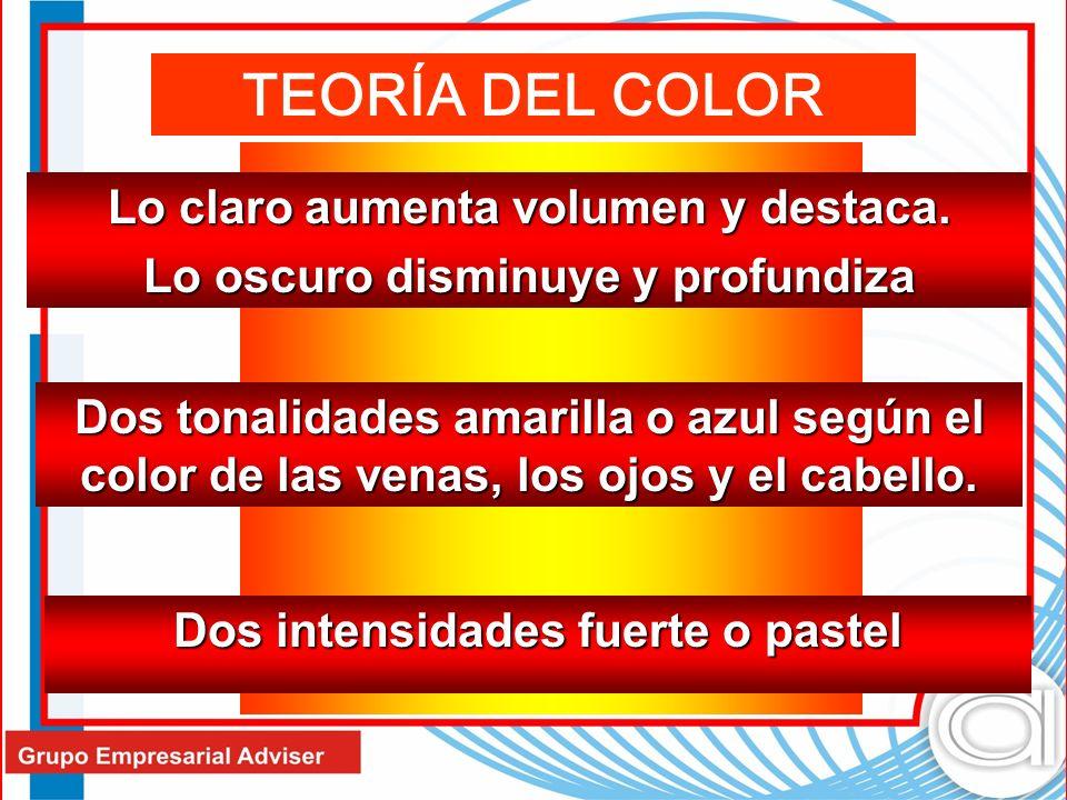 TEORÍA DEL COLOR Lo claro aumenta volumen y destaca.