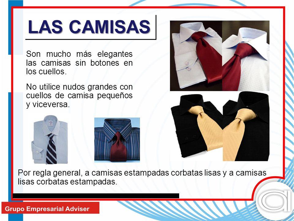 LAS CAMISAS Son mucho más elegantes las camisas sin botones en los cuellos. No utilice nudos grandes con cuellos de camisa pequeños y viceversa.