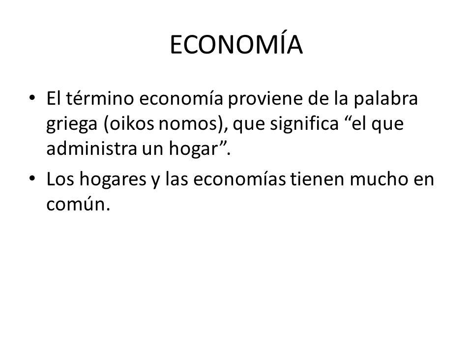 ECONOMÍA El término economía proviene de la palabra griega (oikos nomos), que significa el que administra un hogar .