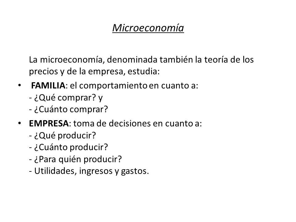 Microeconomía La microeconomía, denominada también la teoría de los precios y de la empresa, estudia: