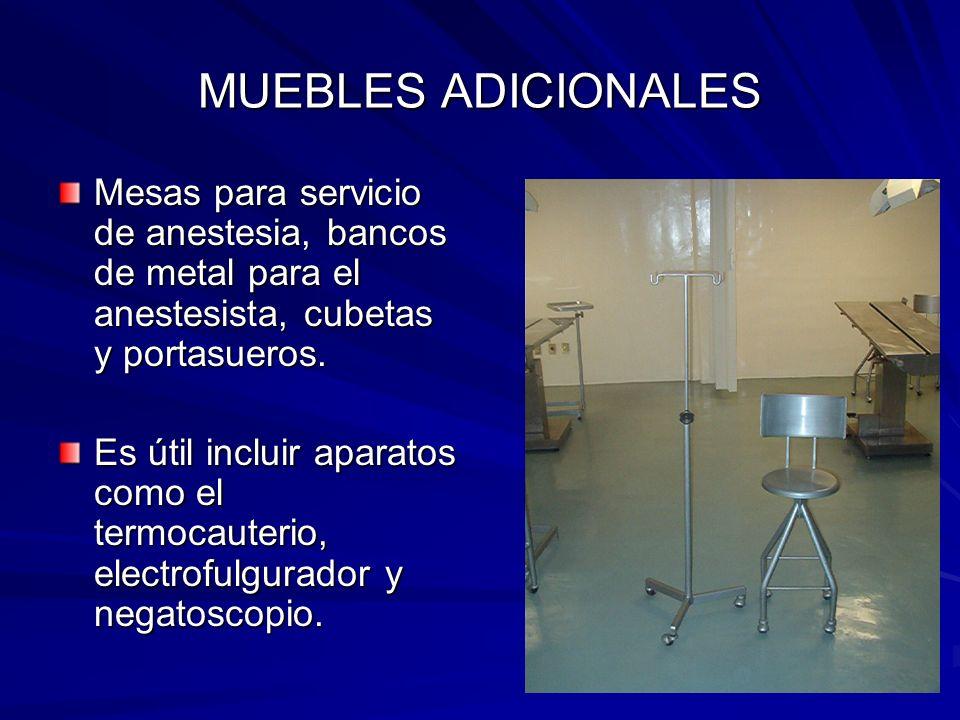 MUEBLES ADICIONALES Mesas para servicio de anestesia, bancos de metal para el anestesista, cubetas y portasueros.