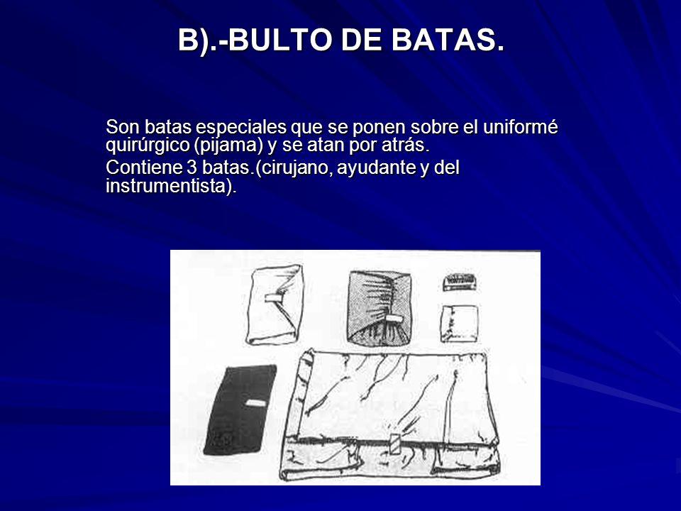 B).-BULTO DE BATAS. Son batas especiales que se ponen sobre el uniformé quirúrgico (pijama) y se atan por atrás.