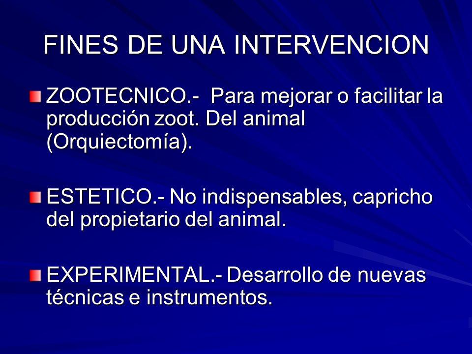 FINES DE UNA INTERVENCION