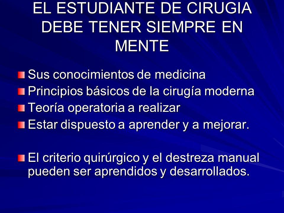EL ESTUDIANTE DE CIRUGIA DEBE TENER SIEMPRE EN MENTE
