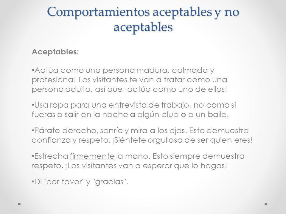 Comportamientos aceptables y no aceptables