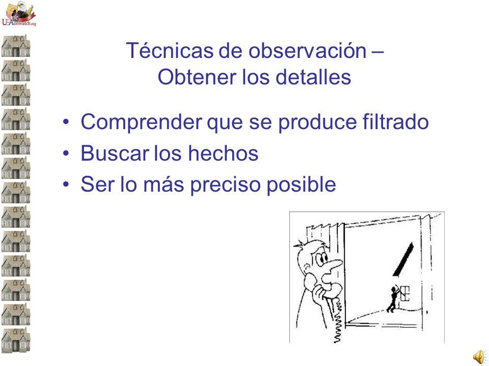 Técnicas de observación – Obtener los detalles