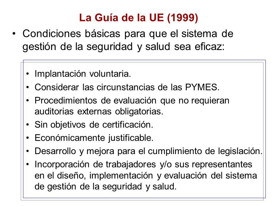 La Guía de la UE (1999) Condiciones básicas para que el sistema de gestión de la seguridad y salud sea eficaz: