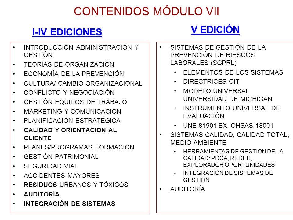 CONTENIDOS MÓDULO VII V EDICIÓN I-IV EDICIONES
