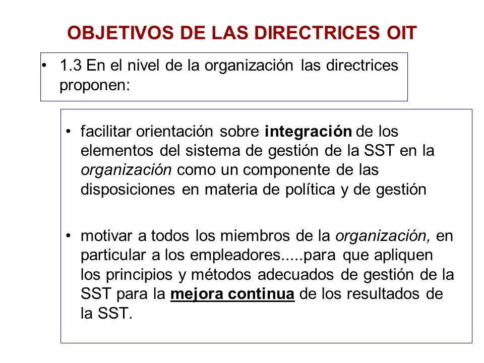 OBJETIVOS DE LAS DIRECTRICES OIT