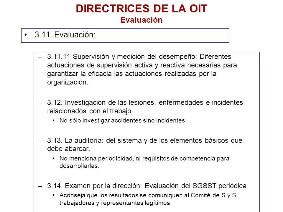 DIRECTRICES DE LA OIT Evaluación