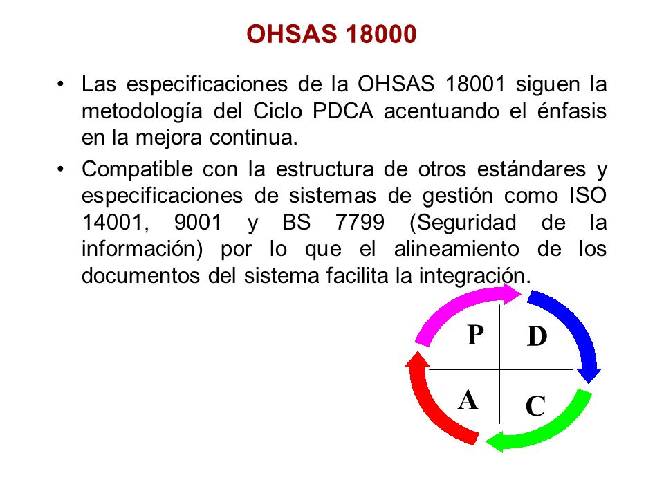 OHSAS 18000Las especificaciones de la OHSAS 18001 siguen la metodología del Ciclo PDCA acentuando el énfasis en la mejora continua.