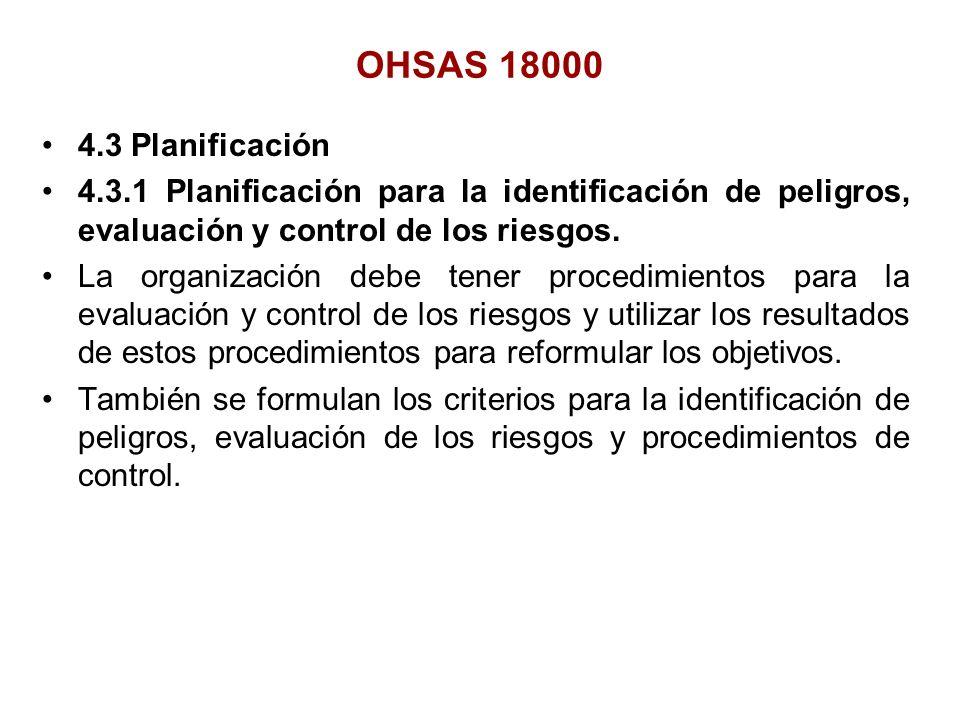 OHSAS 18000 4.3 Planificación. 4.3.1 Planificación para la identificación de peligros, evaluación y control de los riesgos.