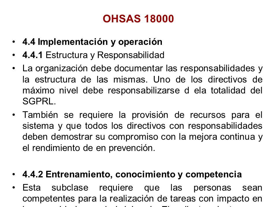 OHSAS 18000 4.4 Implementación y operación
