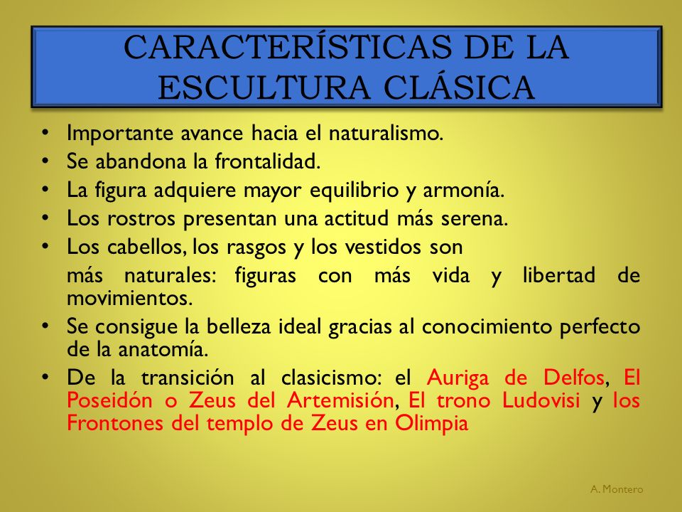CARACTERÍSTICAS DE LA ESCULTURA CLÁSICA