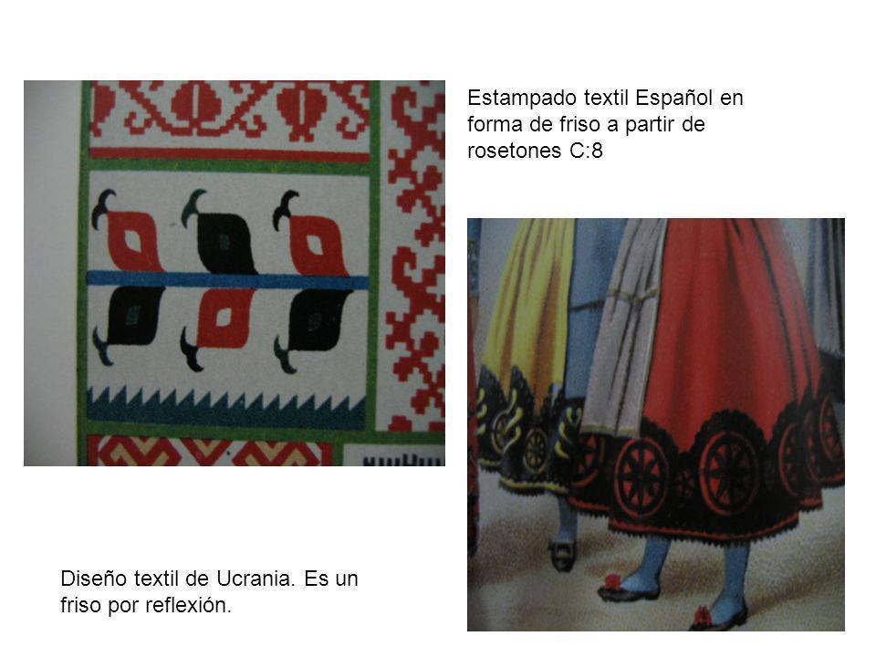Estampado textil Español en forma de friso a partir de rosetones C:8