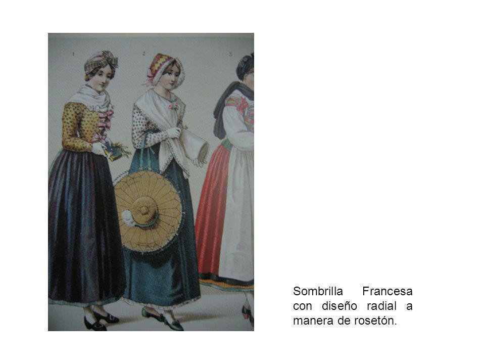 Sombrilla Francesa con diseño radial a manera de rosetón.