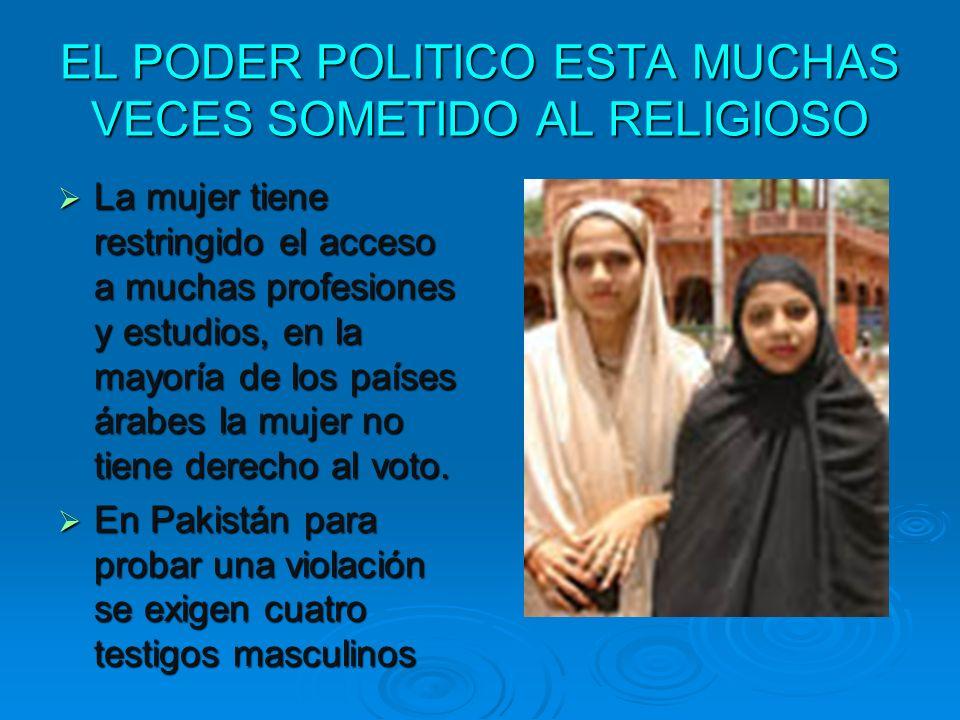 EL PODER POLITICO ESTA MUCHAS VECES SOMETIDO AL RELIGIOSO