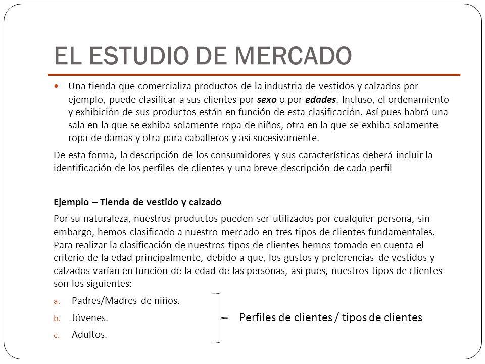 EL ESTUDIO DE MERCADO Perfiles de clientes / tipos de clientes