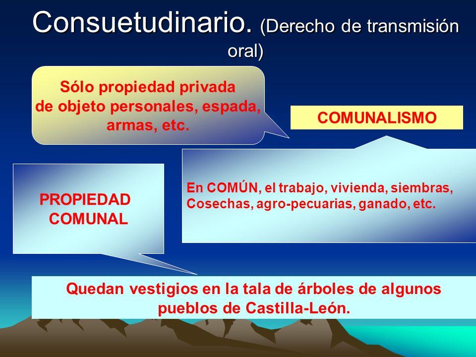 Consuetudinario. (Derecho de transmisión oral)