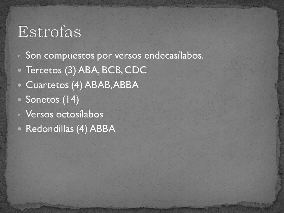 Estrofas Son compuestos por versos endecasílabos.