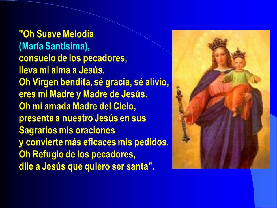 Oh Suave Melodía(María Santísima), consuelo de los pecadores, lleva mi alma a Jesús. Oh Virgen bendita, sé gracia, sé alivio,