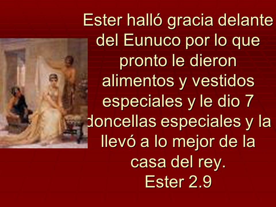 Ester halló gracia delante del Eunuco por lo que pronto le dieron alimentos y vestidos especiales y le dio 7 doncellas especiales y la llevó a lo mejor de la casa del rey.