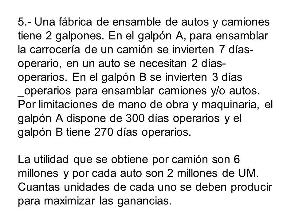 5. - Una fábrica de ensamble de autos y camiones tiene 2 galpones