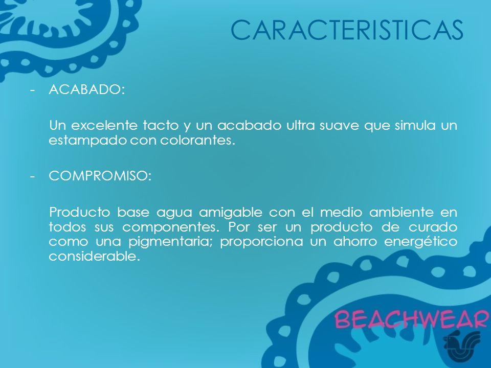 CARACTERISTICAS ACABADO: