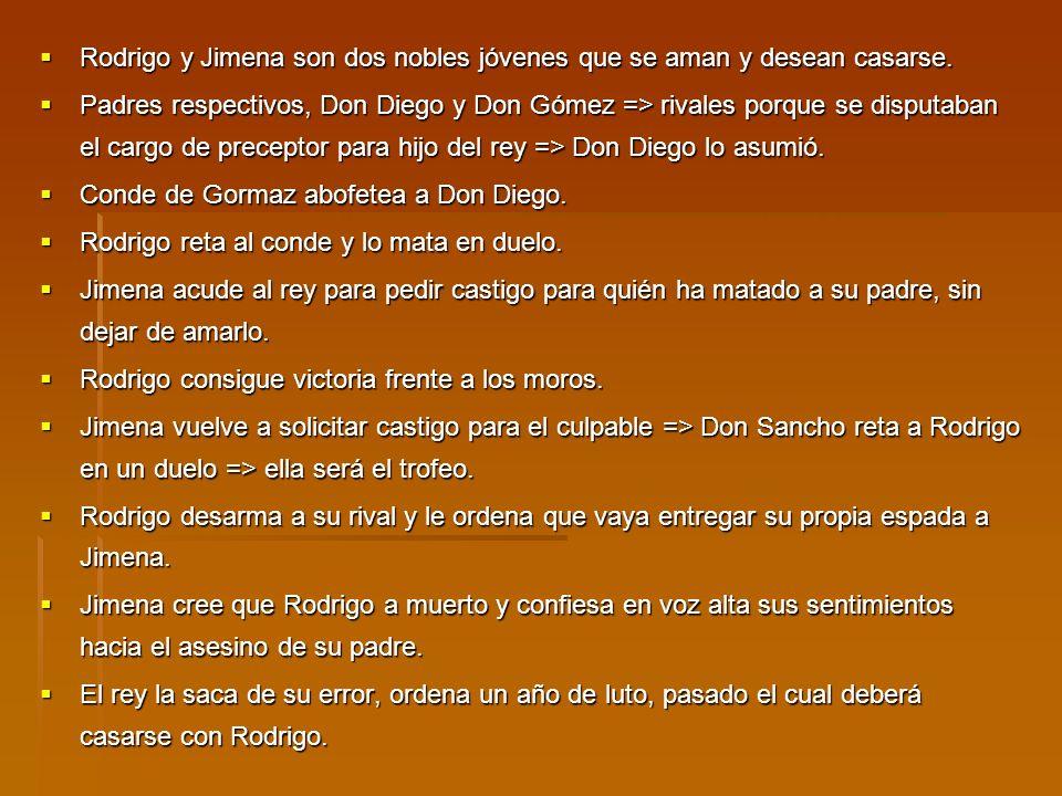 Rodrigo y Jimena son dos nobles jóvenes que se aman y desean casarse.