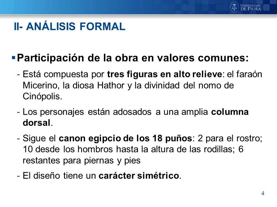 Participación de la obra en valores comunes: