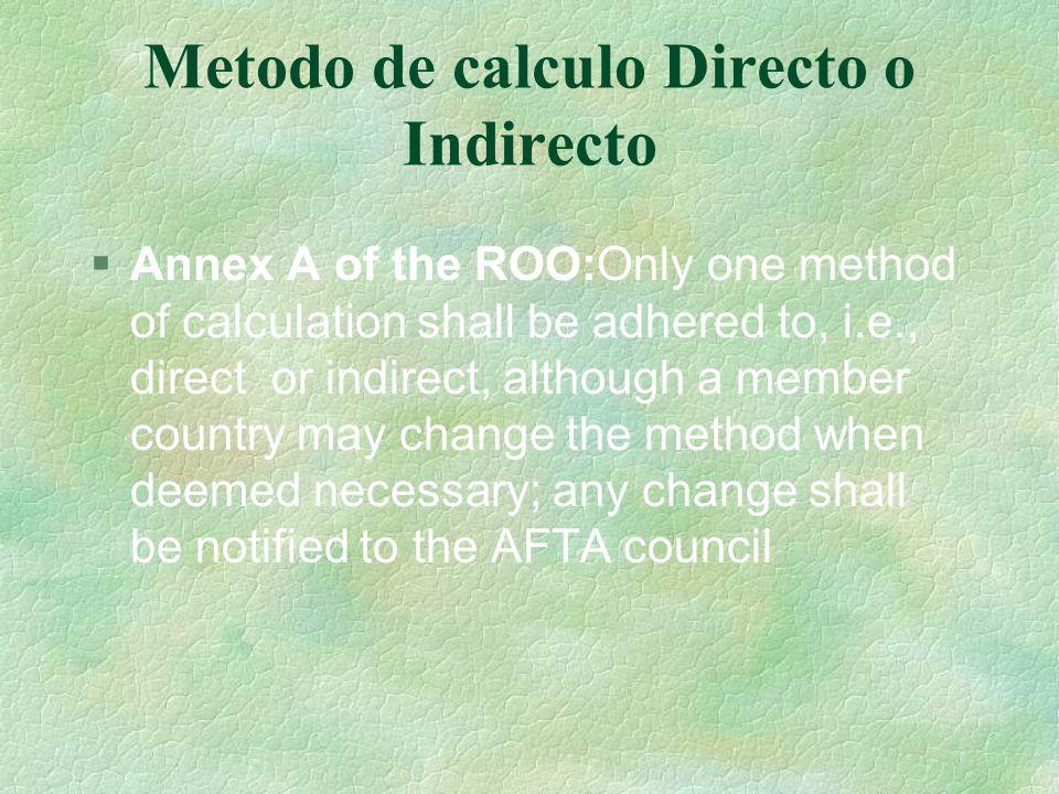 Metodo de calculo Directo o Indirecto