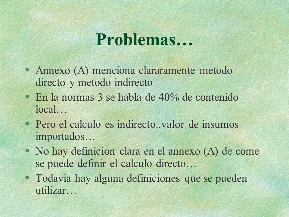 Problemas… Annexo (A) menciona clararamente metodo directo y metodo indirecto. En la normas 3 se habla de 40% de contenido local…