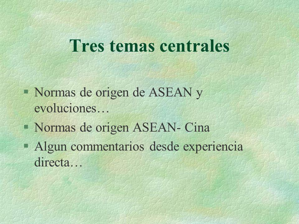 Tres temas centrales Normas de origen de ASEAN y evoluciones…