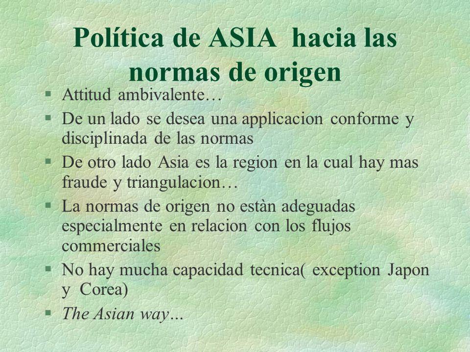 Política de ASIA hacia las normas de origen