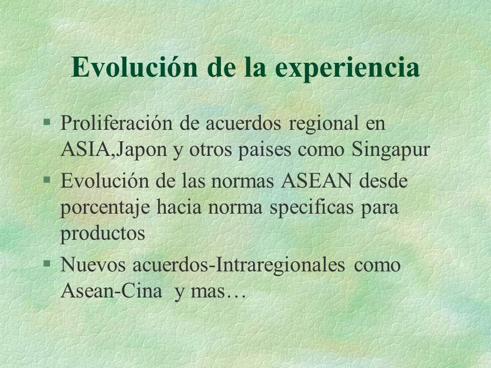 Evolución de la experiencia