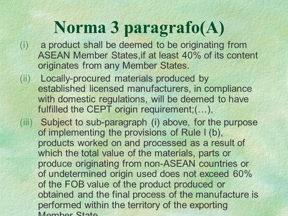 Norma 3 paragrafo(A)
