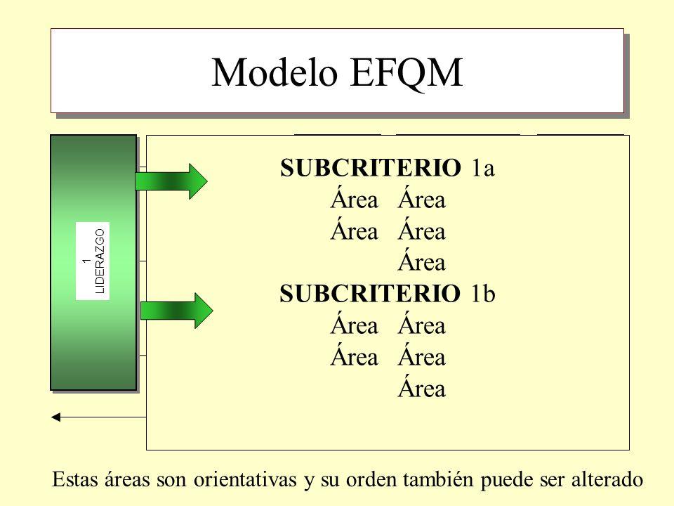 Modelo EFQM SUBCRITERIO 1a Área Área Área SUBCRITERIO 1b