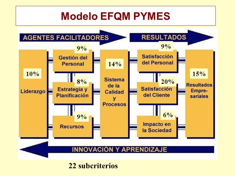Modelo EFQM PYMES 9% 9% 14% 10% 15% 8% 20% 6% 9% 22 subcriterios