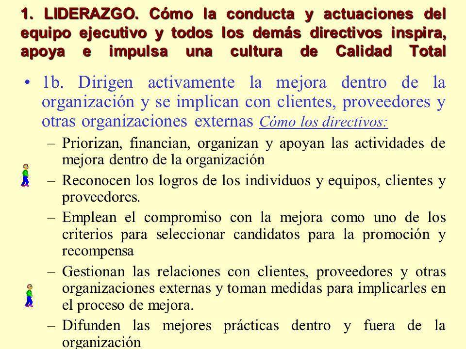 1. LIDERAZGO. Cómo la conducta y actuaciones del equipo ejecutivo y todos los demás directivos inspira, apoya e impulsa una cultura de Calidad Total