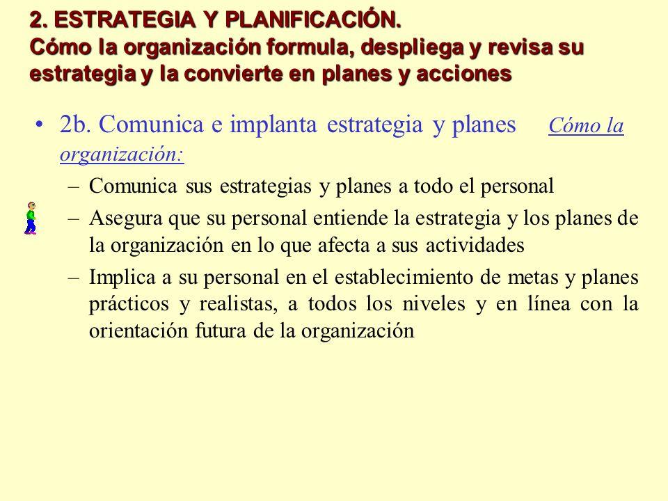 2b. Comunica e implanta estrategia y planes Cómo la organización: